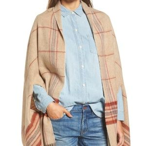 Brand New MADEWELL Placed Plaid Cape Scarf